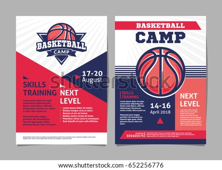 Basketball Camp Posters Flyer Basketball Ball Stock Vector