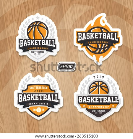 Basketball championship logo set on wooden texture - stock vector