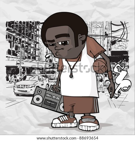 Basketball character on a city-background. Vector illustration. Place for your text. - stock vector