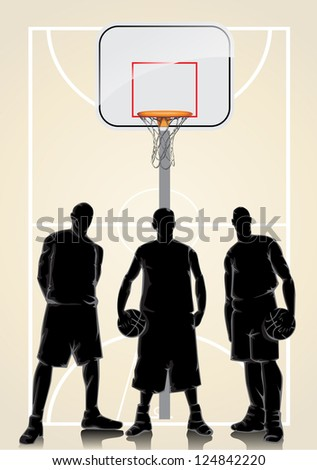 Basketball characters silhouette background - stock vector