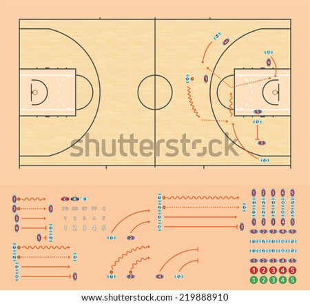Basketball coaching board - stock vector