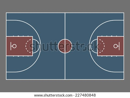 Basketball court / field - top view. Proper markings and proportions according standards. Vector illustration, eps 8.