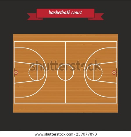 Basketball court, parquet. Flat style design - vector