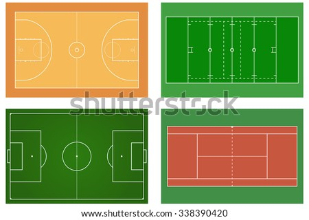 Basketball court. Tennis court. American football field. Sport set.  Soccer field. Green football stadium Top view. Vector illustration.