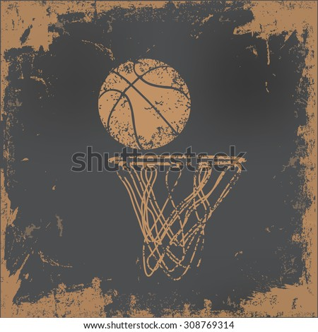 Basketball design on old paper background,vector - stock vector