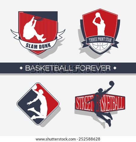Basketball emblem - color - stock vector