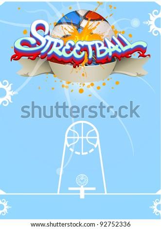 Basketball event poster, outdoor streetball, vector illustration - stock vector