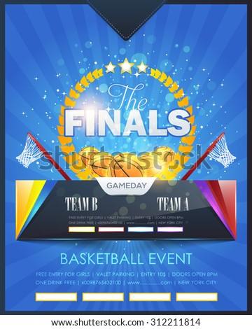 Basketball Event Poster Template Vector Design - stock vector