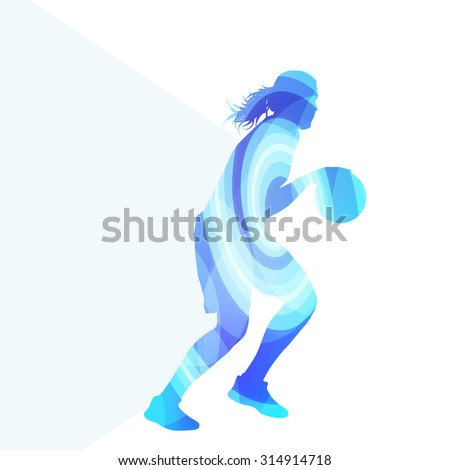 Basketball female woman player silhouette illustration vector background colorful concept made of transparent curved shapes - stock vector