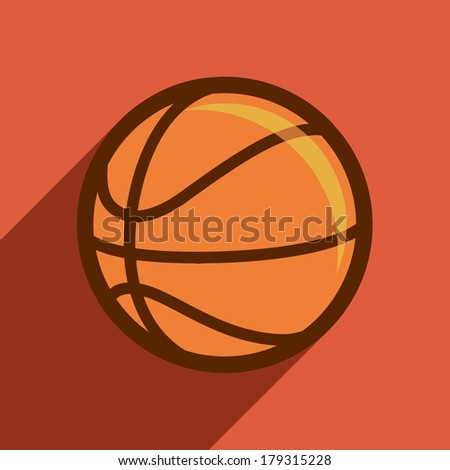 basketball flat design, sport, vector, orange, illustration. - stock vector