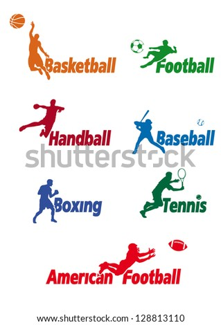 Basketball, Football, Handball, Baseball, Boxing, Tennis, American Football, vector illustration - stock vector