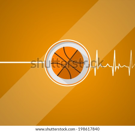 Basketball for life. Vector flat illustration of basketball which gives a life on orange background. - stock vector