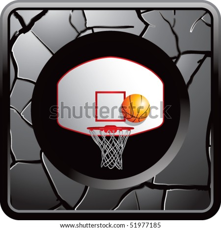 basketball goal gray cracked web icon - stock vector