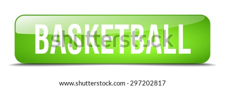 basketball green square 3d realistic isolated web button