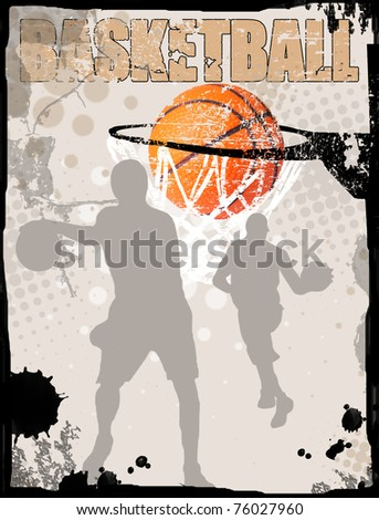 Basketball grungy poster background, vector illustration - stock vector