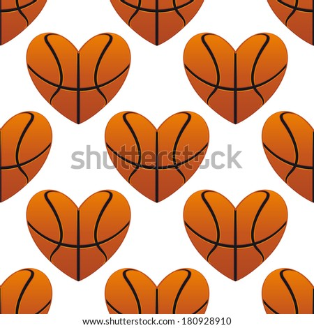 Basketball hearts in a seamless pattern in square format suitable for sports design - stock vector