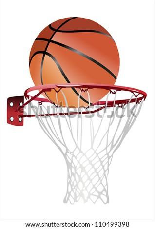 basketball hoop and ball (basketball hoop with basketball, basketball and hoop) - stock vector