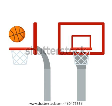 basketball hoop ball front side view stock vector