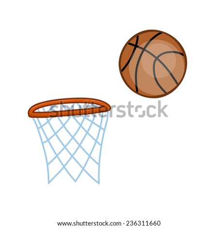 basketball hoop and ball isolated illustration on white background - stock vector