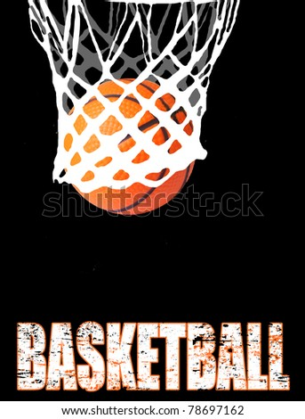 Basketball hoop and ball on black, vector illustration - stock vector