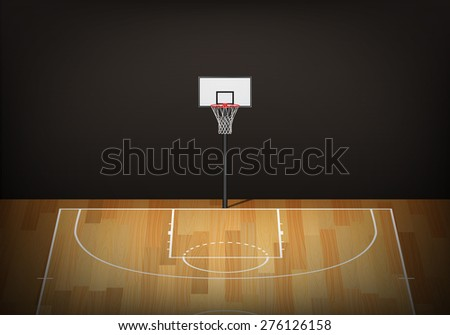 Basketball hoop on empty wooden court. Vector EPS10 illustration.  - stock vector