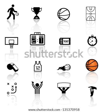 Basketball icon set - stock vector