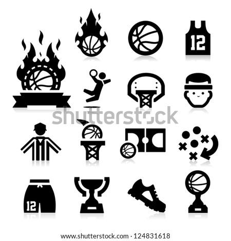 Basketball Icons - stock vector
