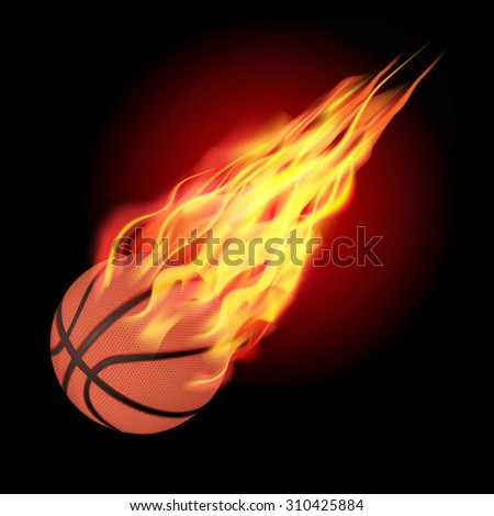Basketball in fire flying down. Isolated on dark background. Vector illustration
