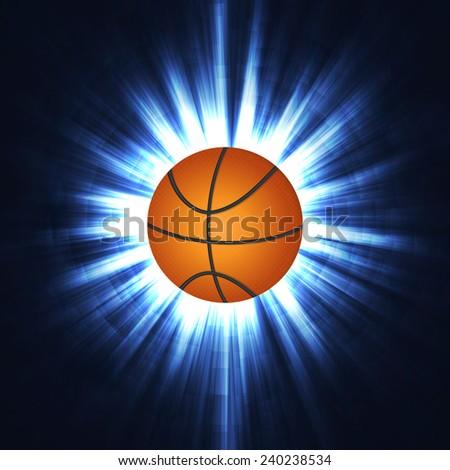 basketball in neon lines - stock vector