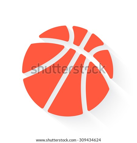 basketball in orange with drop shadow on white - stock vector