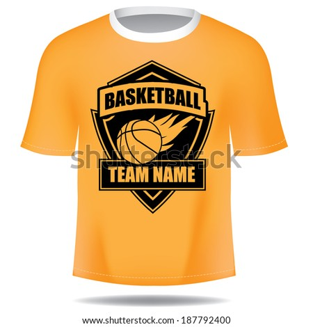 Basketball insignia tee EPS 10 vector, grouped for easy editing. No open shapes or paths. - stock vector