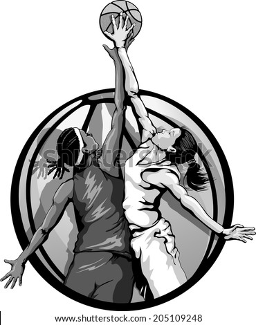 Basketball jump ball featuring two girls in a basketball background, gray scale version. - stock vector