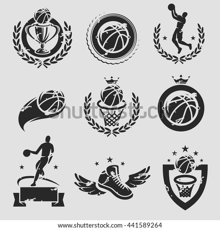 Basketball labels and icons set. Vector - stock vector