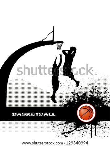 basketball match on grunge background