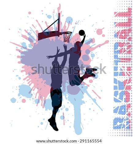 basketball match on grunge background - stock vector