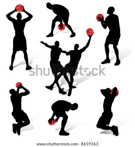 Basketball people silhouettes on a white background - stock vector