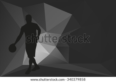 Basketball player. Abstract gray card - stock vector