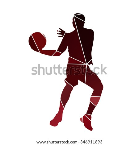 Basketball player. Abstract red vector silhouette