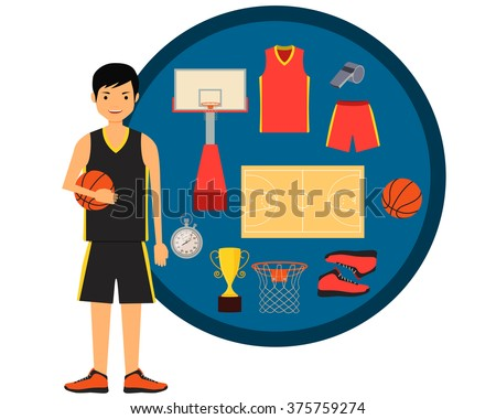 Basketball player and basketball icon set. Vector illustration  - stock vector