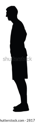 Basketball player black silhouette vector illustration isolated on white background.