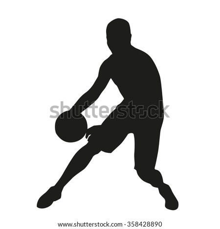 Basketball player crossover, vector silhouette - stock vector