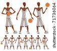 Basketball player illustrations set. - stock vector