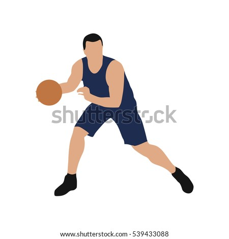 Basketball player in blue jersey, vector isolated illustration