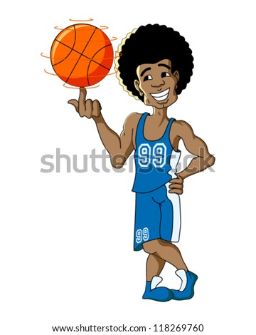 Basketball Player Isolated on White - stock vector