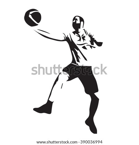 Basketball player isolated vector silhouette - stock vector
