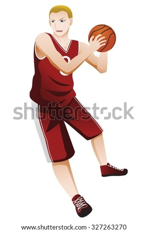 basketball player isolated with white  - stock vector