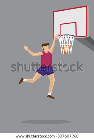 Basketball player leaps into the air for a slam dunk shot. Vector cartoon illustration on basketball sport theme isolated on grey background. - stock vector
