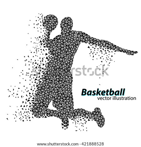Basketball player of the triangles. Text on a separate layer, color can be changed in one click