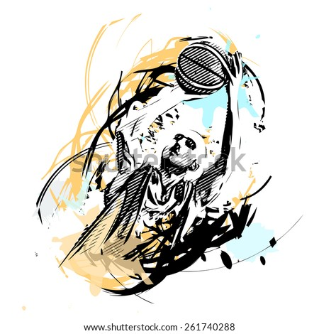 basketball player on watercolor background - stock vector