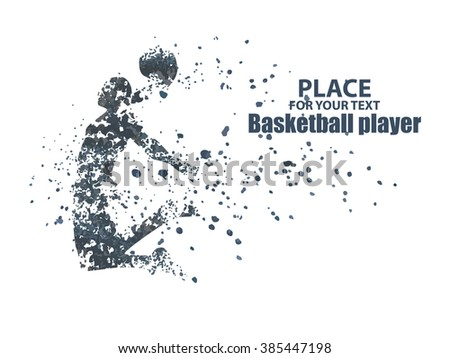 Basketball player, particle divergent composition, vector illustration